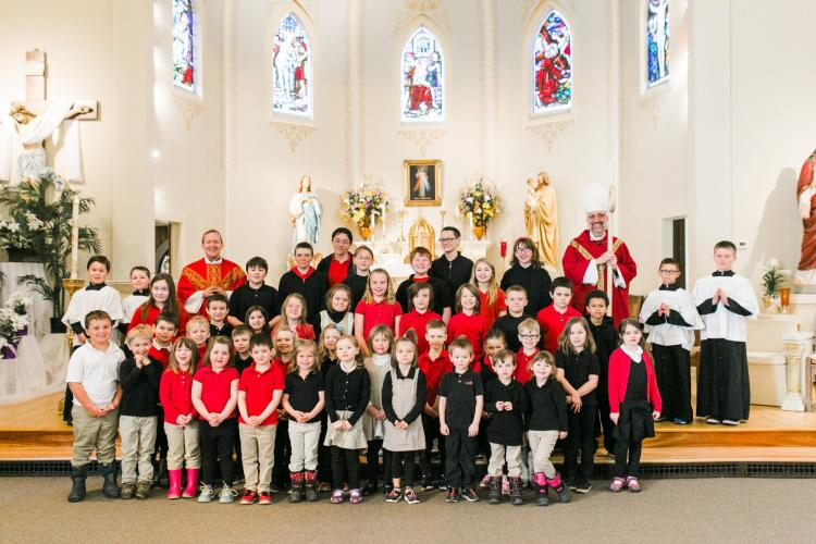 Staff & Students with Bishop John