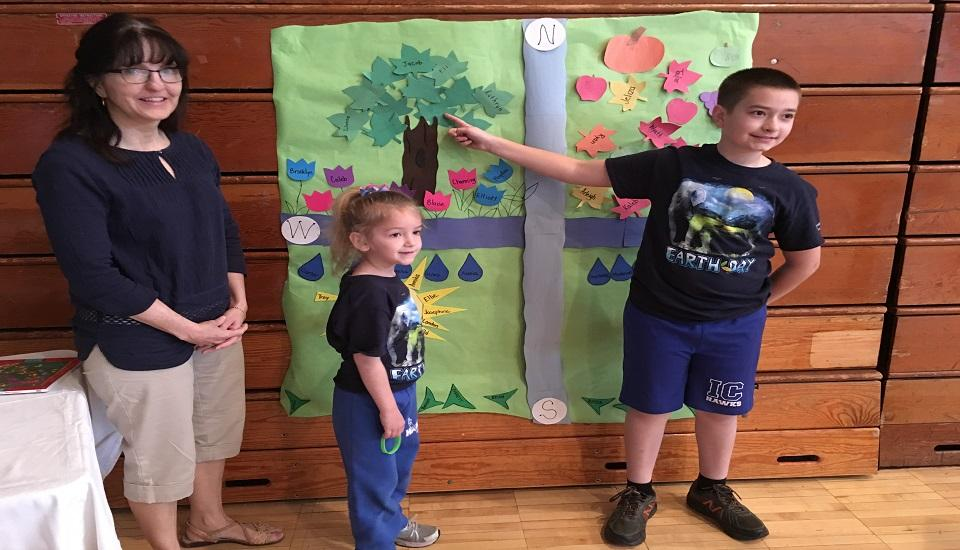 Students with their Earth Day Mural